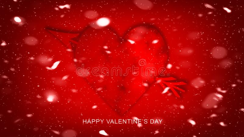 Flèche colorée avec des coeurs pour le jour de valentines heureux Carte d'amour Insecte ou impression de noce, cartes, etc. illustration libre de droits