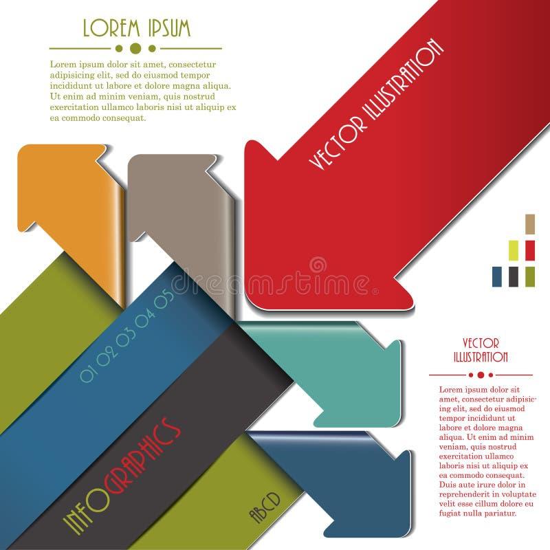 Flèche colorée moderne pour le calibre d'Infographics illustration stock