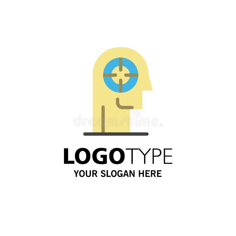 Flèche, concentration, focus, tête, modèle de logo de l'entreprise humaine Couleur plat illustration stock