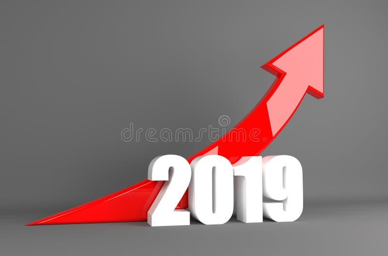Flèche 2019 - croissance d'affaires d'année illustration de vecteur
