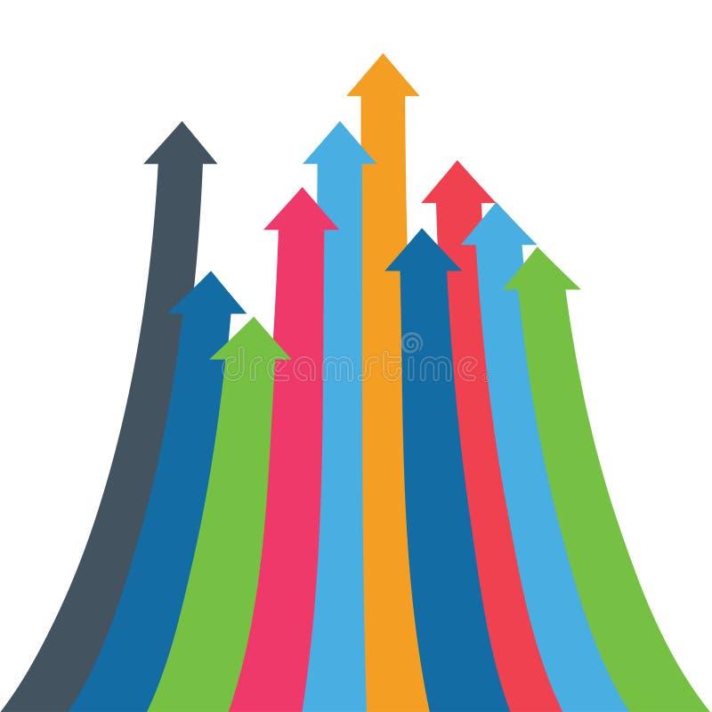 Flèche d'Infographic Flèches de croissance, succès, augmentation de volume de ventes, augmentation démographique fond 3D simple p illustration libre de droits
