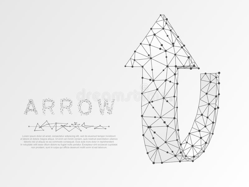 Flèche d'origami se dirigeant  Bas poly polygonal Croissance, symbole de succès le wireframe dirigent sur le fond blanc illustration libre de droits