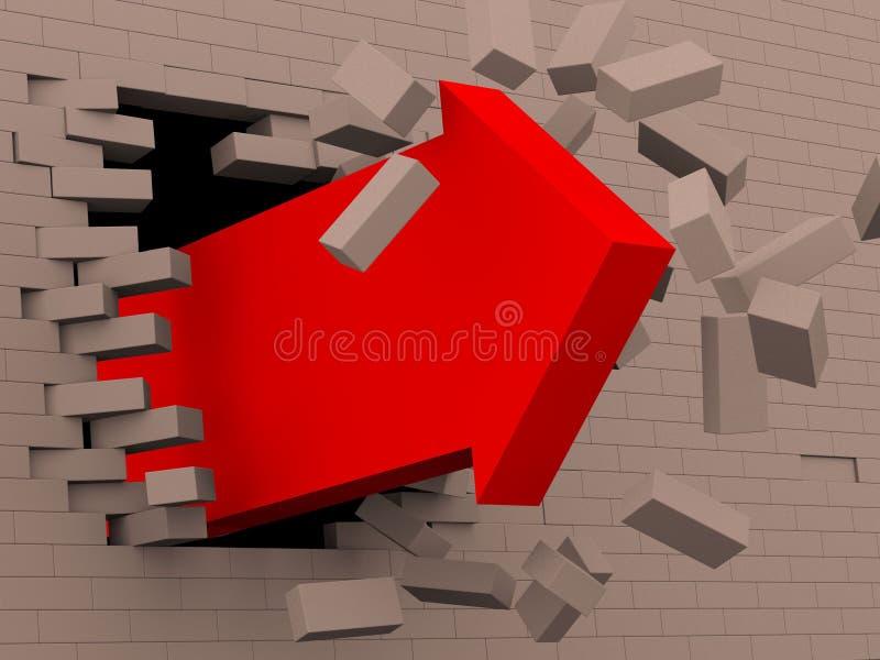 flèche 3d rouge cassant le mur de briques illustration stock