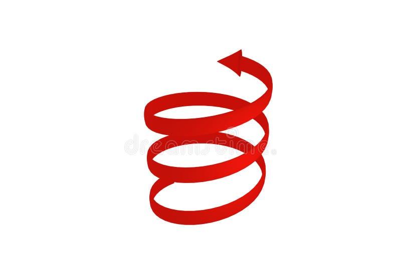 flèche 3d spiralée rouge rendu 3d images libres de droits