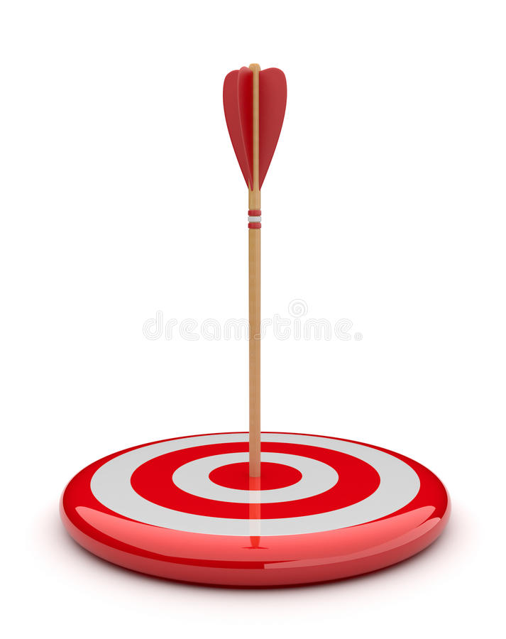 Flèche dans la cible 3D. heurter de réussite. Affaires illustration stock