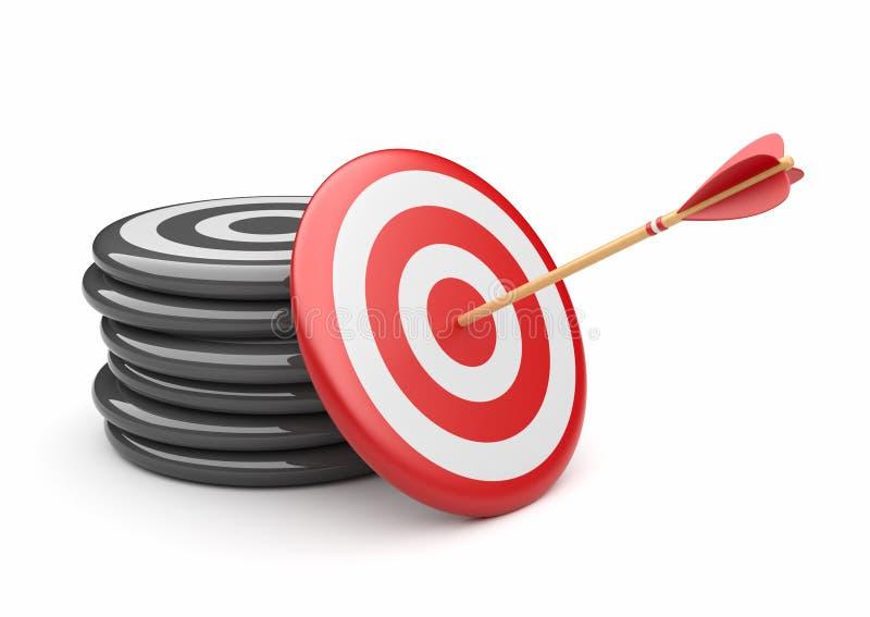 Flèche dans la cible 3D. heurter de réussite. Affaires illustration libre de droits