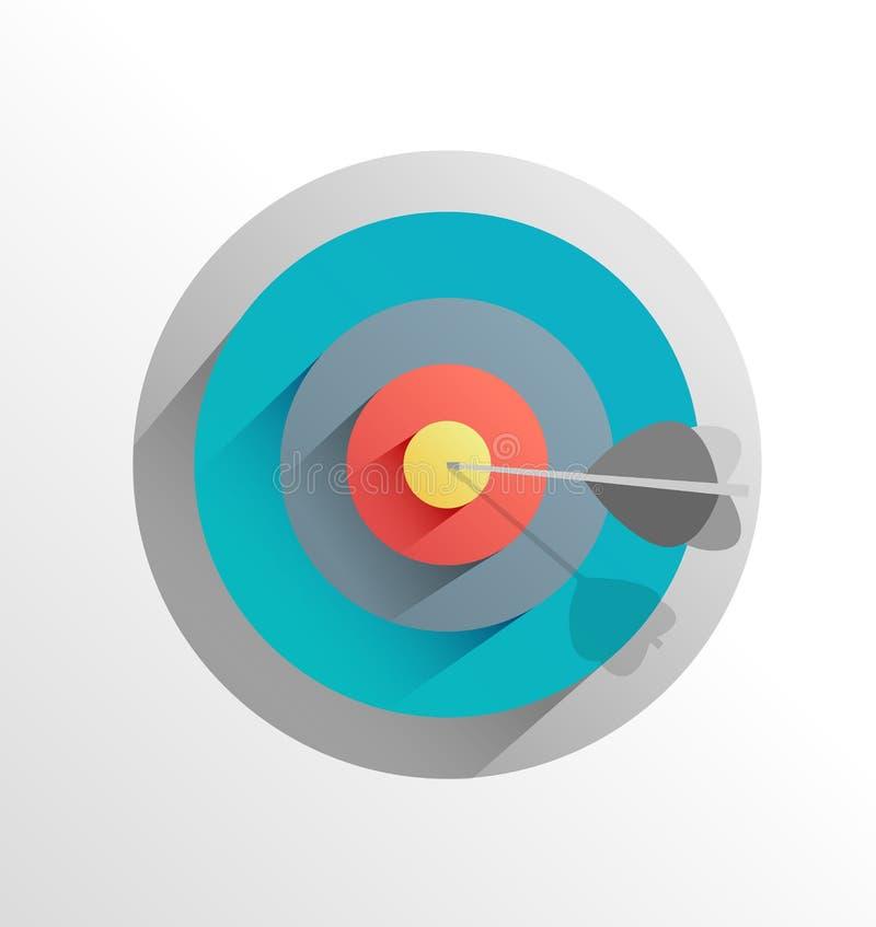 Flèche dans la cible d'oeil de taureaux illustration de vecteur