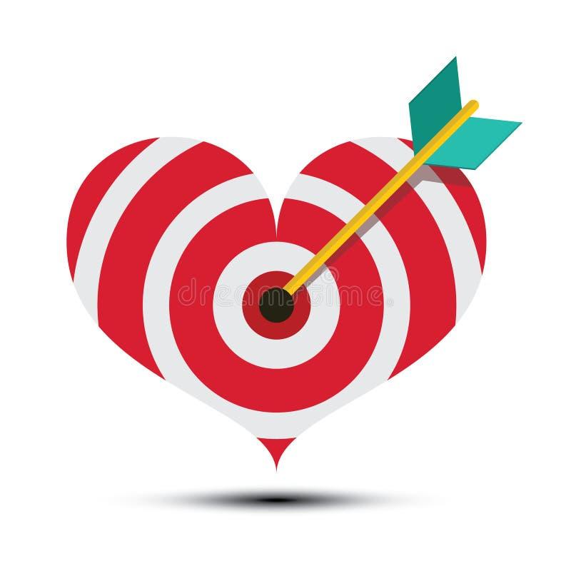 Flèche dans le panneau de dard en forme de coeur illustration stock