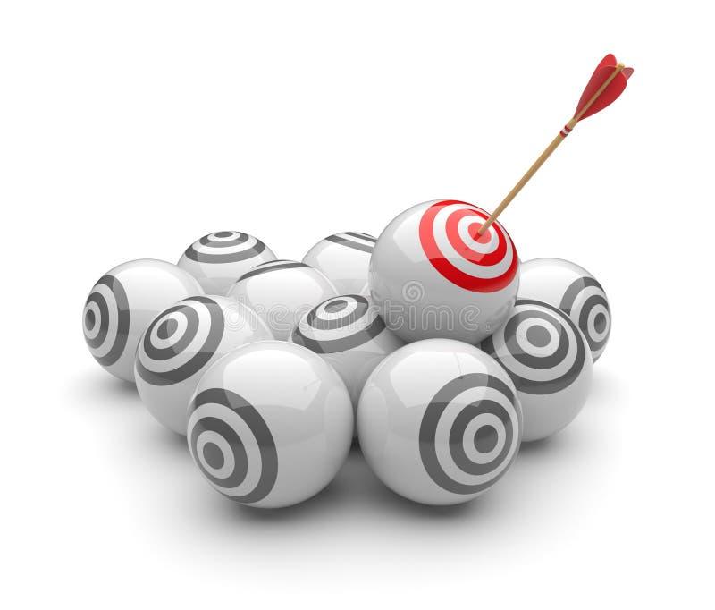 Flèche dans les cibles 3D. Heurter de réussite. Affaires illustration de vecteur
