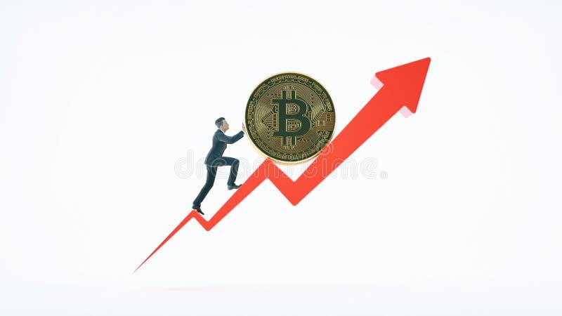 Flèche de Bitcoin pour la valeur et l'homme d'affaires d'augmentation images stock