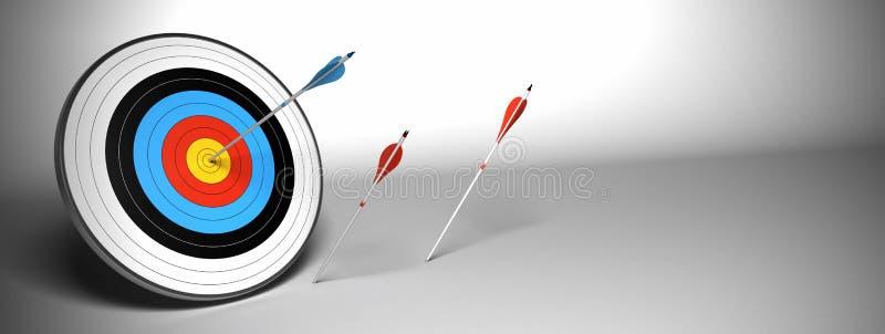 Flèche de cible au-dessus d'un drapeau gris de fond illustration libre de droits