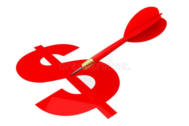 Flèche de dards avec la cible de symbole dollar illustration de vecteur