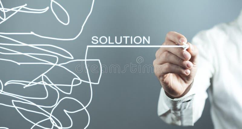 Flèche de dessin d'homme Concept de solution images stock