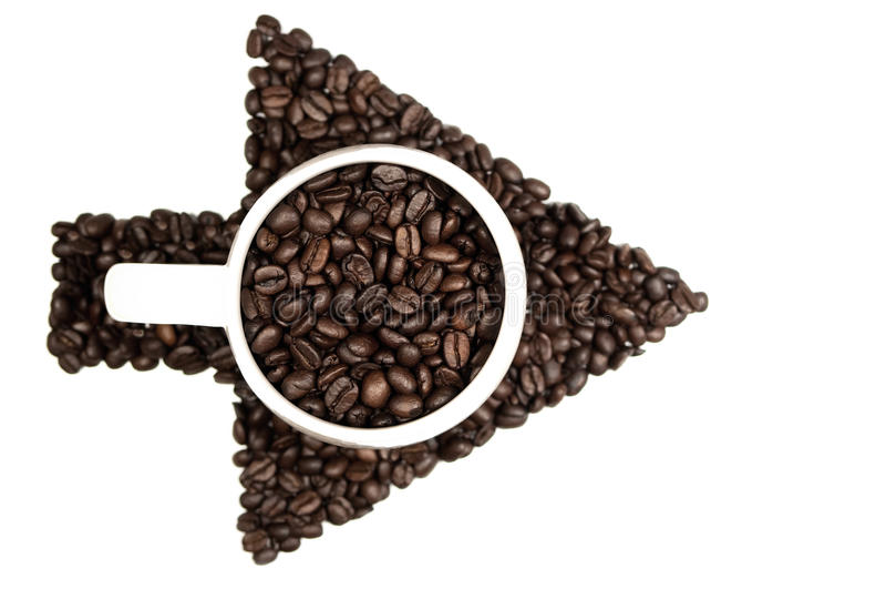 Flèche de grains de café images stock