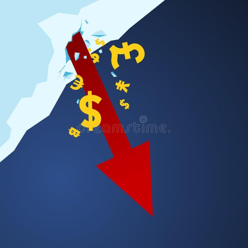Flèche de marché boursier vers le bas photos libres de droits