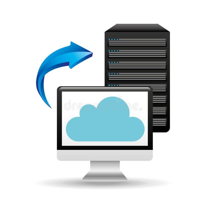 Flèche de nuage de base de données de PC illustration stock
