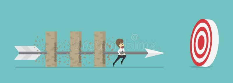 Flèche de prise d'homme d'affaires traversant wal multicouche d'obstacle illustration stock