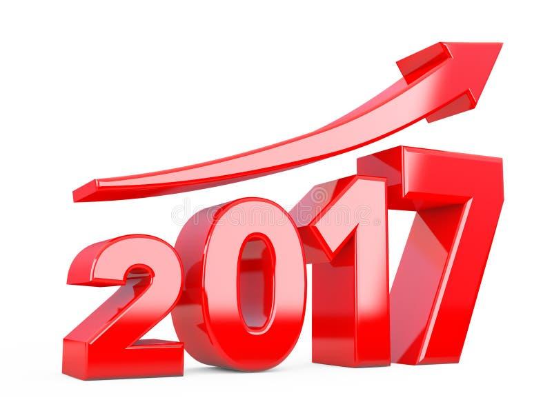 Flèche de progrès dans le nouveau signe de 2017 ans rendu 3d illustration stock
