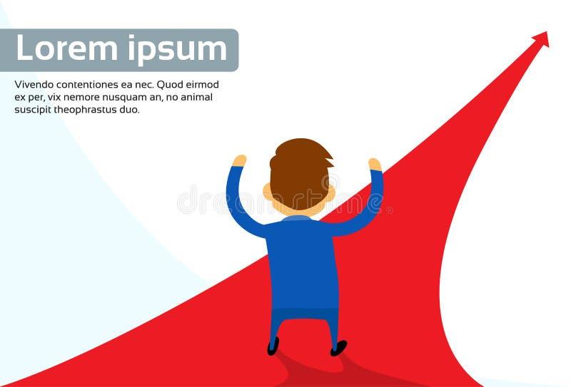 Flèche de rouge de manière de chemin de Rear View Choose d'homme d'affaires illustration stock