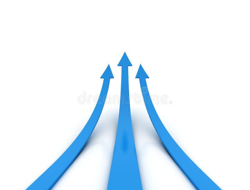 Flèche de trois bleus - concept de concurrence illustration libre de droits