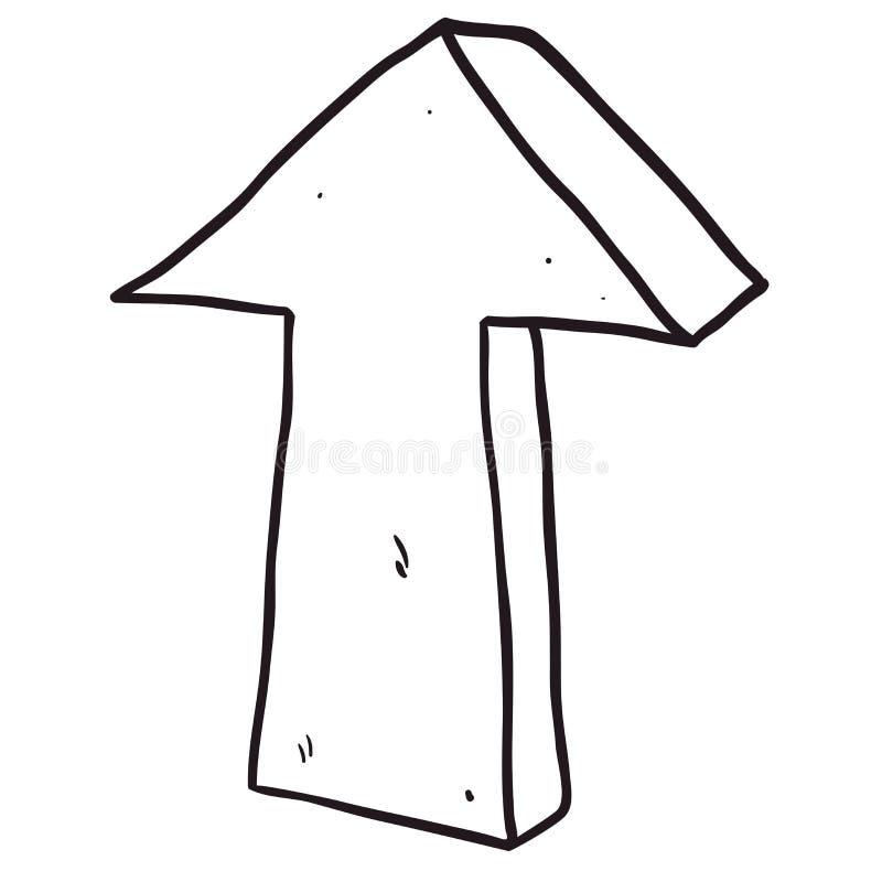 Flèche dessinée à main levée noire et blanche de bande dessinée se dirigeant  illustration libre de droits