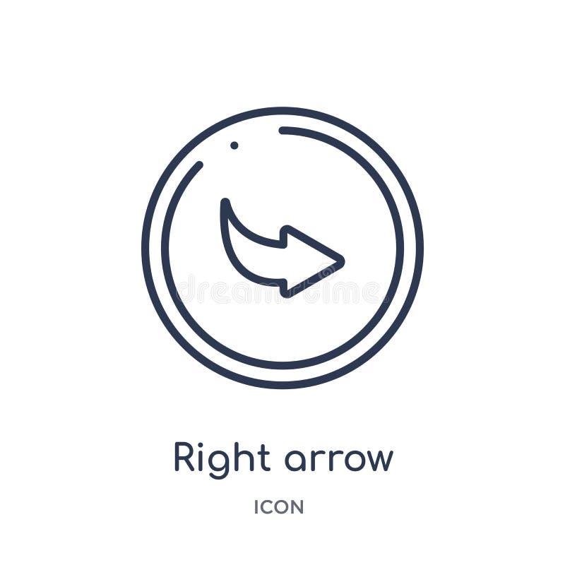 flèche droite avec l'icône de tour de la collection d'ensemble d'interface utilisateurs Ligne mince flèche droite avec l'icône de illustration libre de droits
