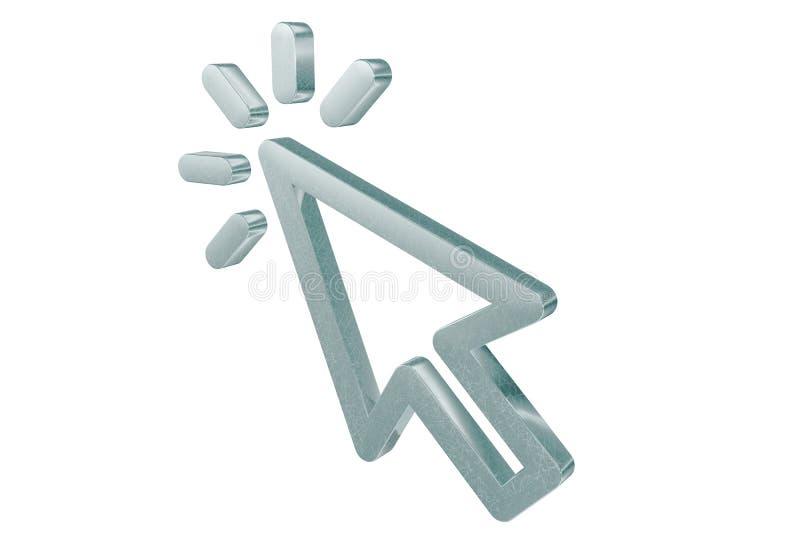 Flèche du curseur 3D de clignotement illustration de vecteur