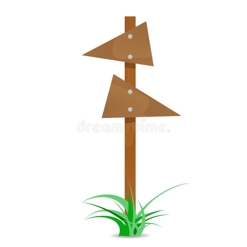 Flèche en bois avec le buisson illustration libre de droits