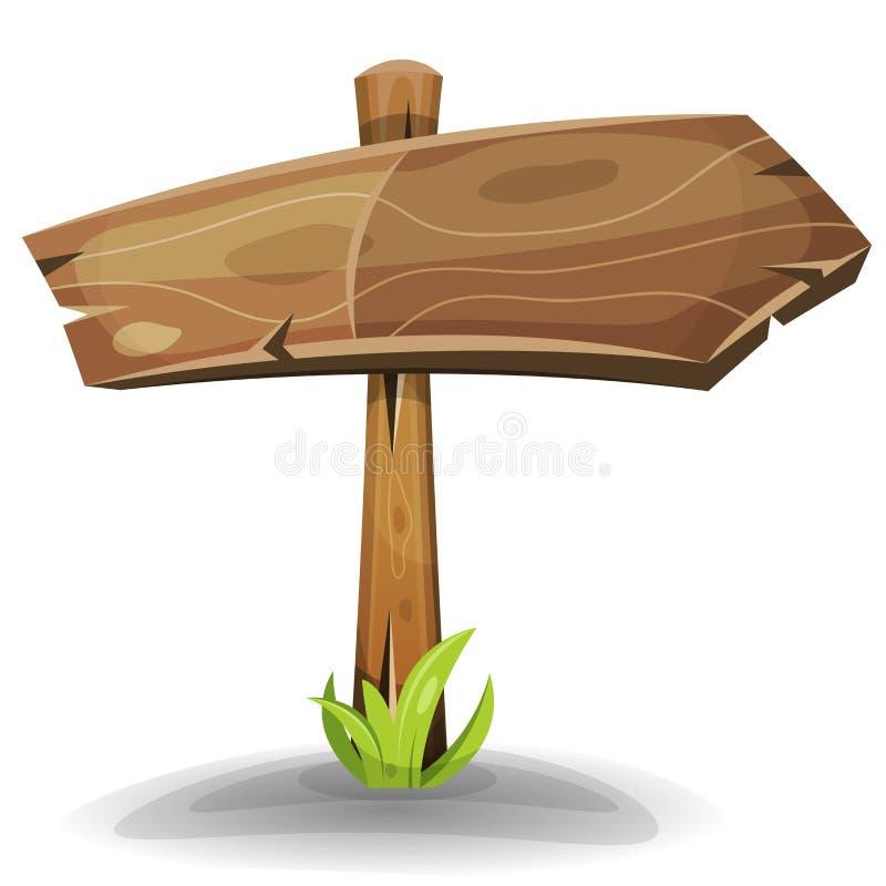 Flèche en bois comique de signe illustration de vecteur