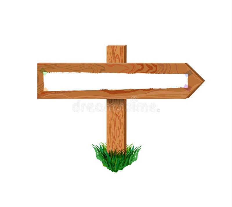 Flèche en bois de vecteur, rétro panneau avec attaché par le papier de bande, calibre vide de cadre avec l'herbe illustration libre de droits
