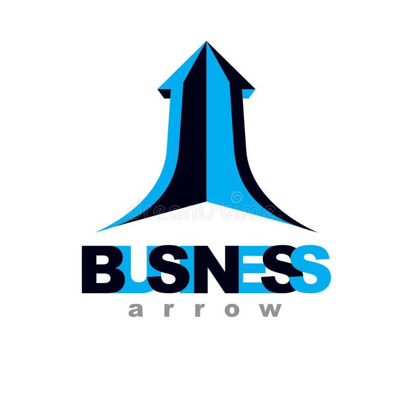 Flèche en hausse de vecteur Logo conceptuel de réussite commerciale d'isolement sur le fond blanc illustration stock