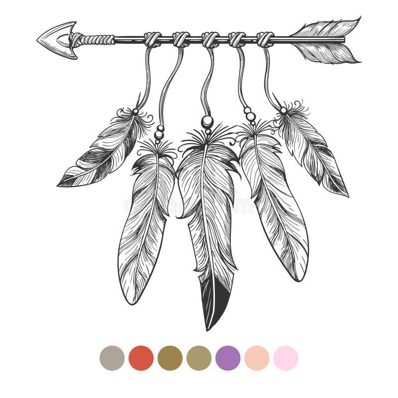 Flèche et plumes tribales de Colorng illustration libre de droits