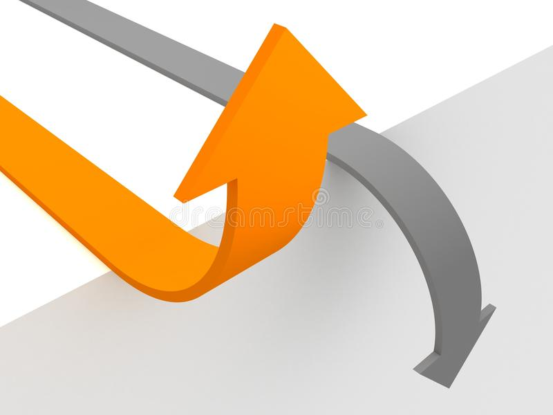 Flèche haute et grise de flèche orange vers le bas. conce de réussite illustration libre de droits