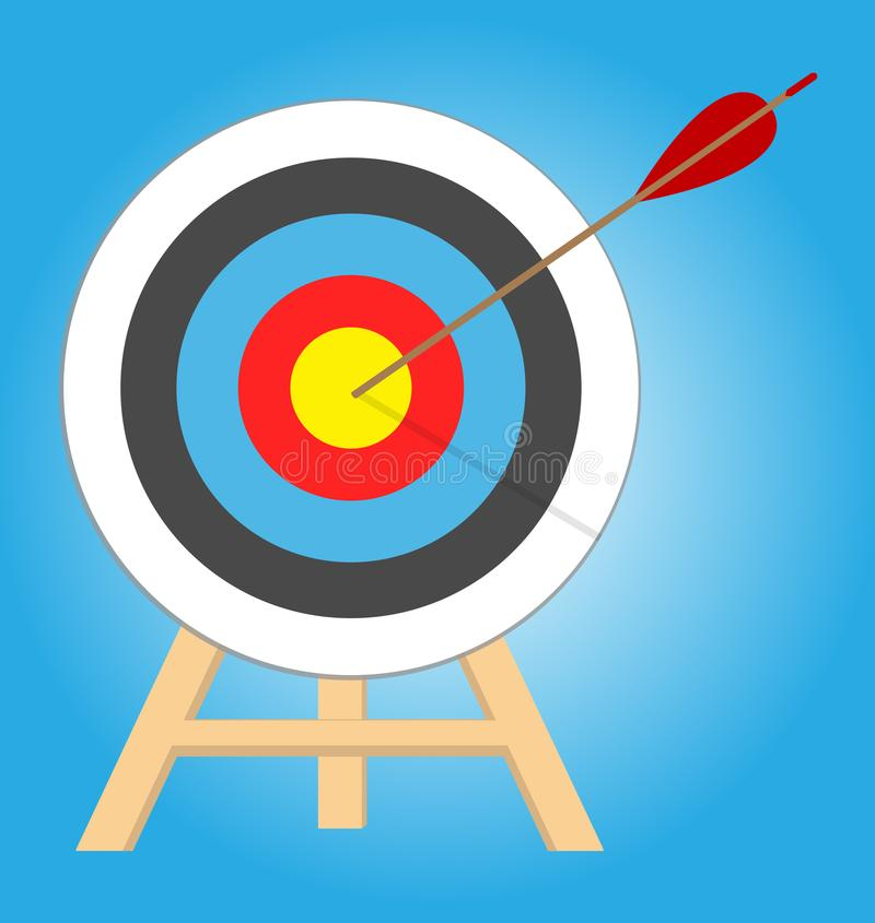Flèche heurtant la cible Concept d'affaires Cible avec la flèche, se tenant sur un trépied image libre de droits