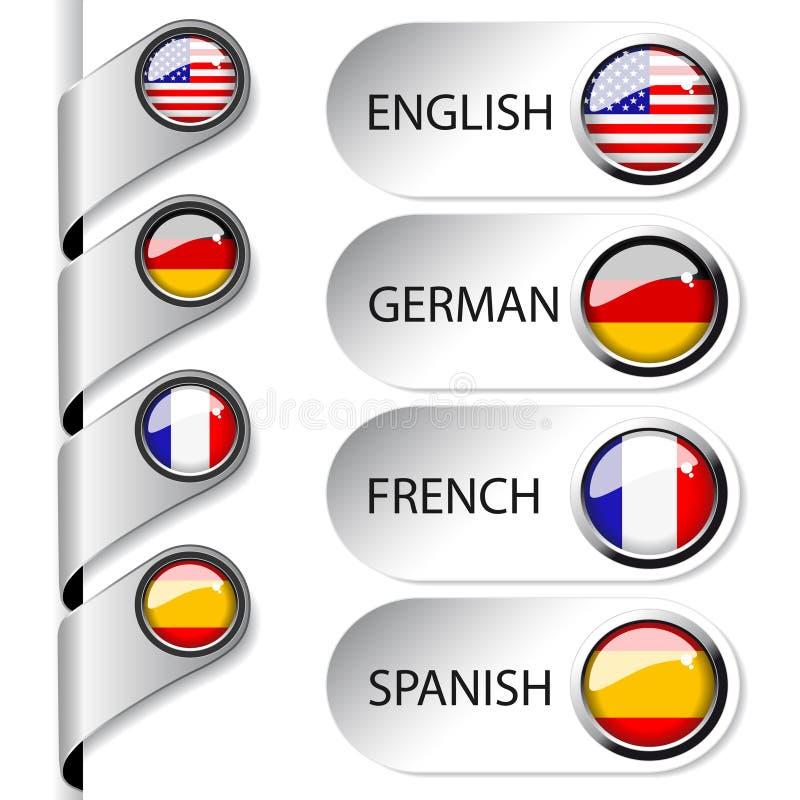 flèche indicatrice de langage de vecteur pour le Web illustration stock