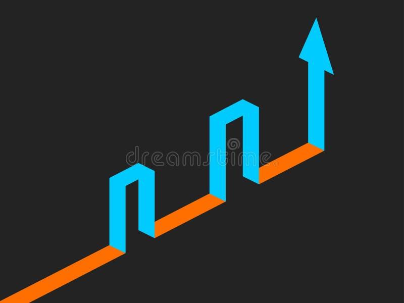 Flèche isométrique, accédant la cible par les barrières Vecteur illustration de vecteur