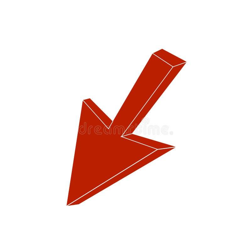 Flèche isométrique de vecteur, icône d'indicateur, curseur rouge illustration stock