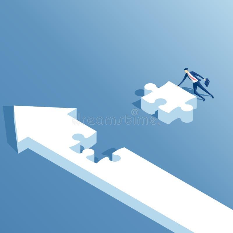 Flèche isométrique et puzzle illustration de vecteur