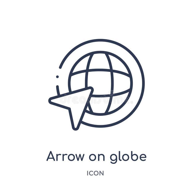 Flèche linéaire sur l'icône de globe collection de cartes et de drapeaux d'ensemble Ligne mince flèche sur l'icône de globe d'iso illustration libre de droits