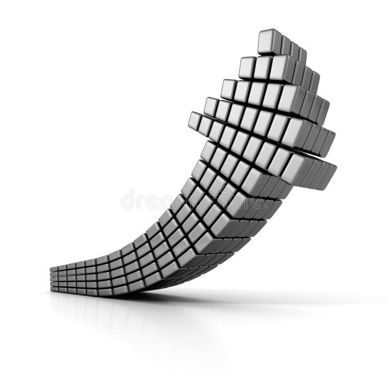 Flèche métallique argentée foncée de cube montant illustration stock