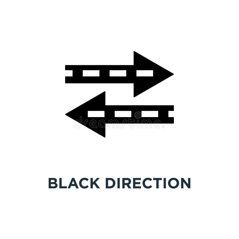 flèche noire de direction comme l'icône de transfert, le symbole du transfert rapide de l'information pour le site Web et le conc illustration de vecteur