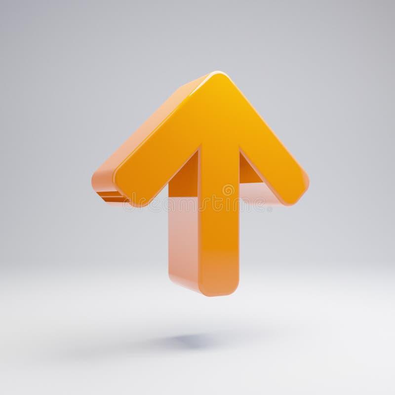 Flèche orange chaude brillante volumétrique vers le haut de l'icône d'isolement sur le fond blanc photo libre de droits