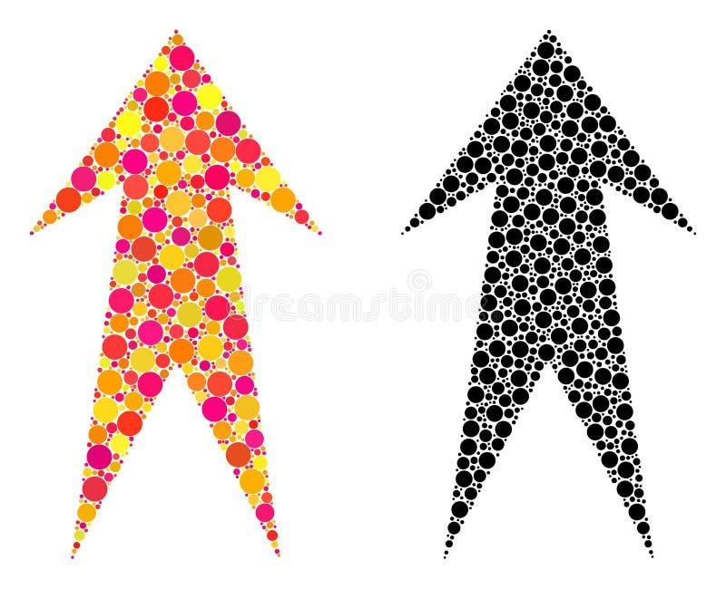 Flèche pointillée vers le haut des icônes de mosaïque illustration stock