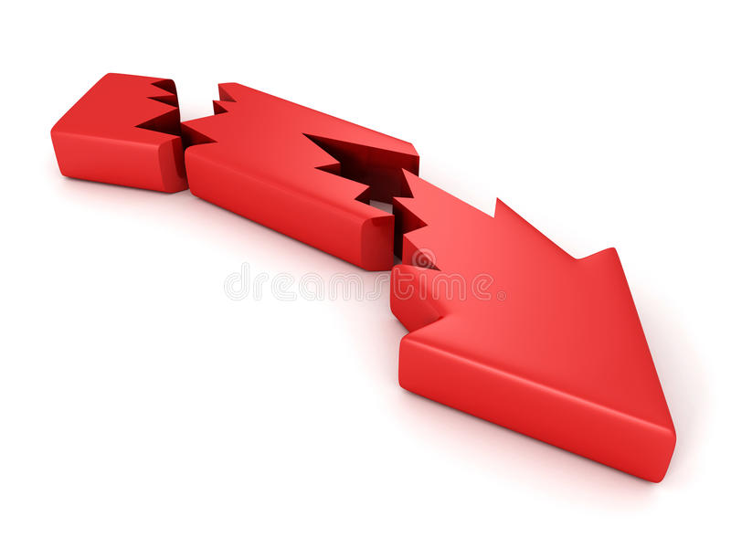 Flèche rouge de crise criquée cassée sur le fond blanc illustration libre de droits