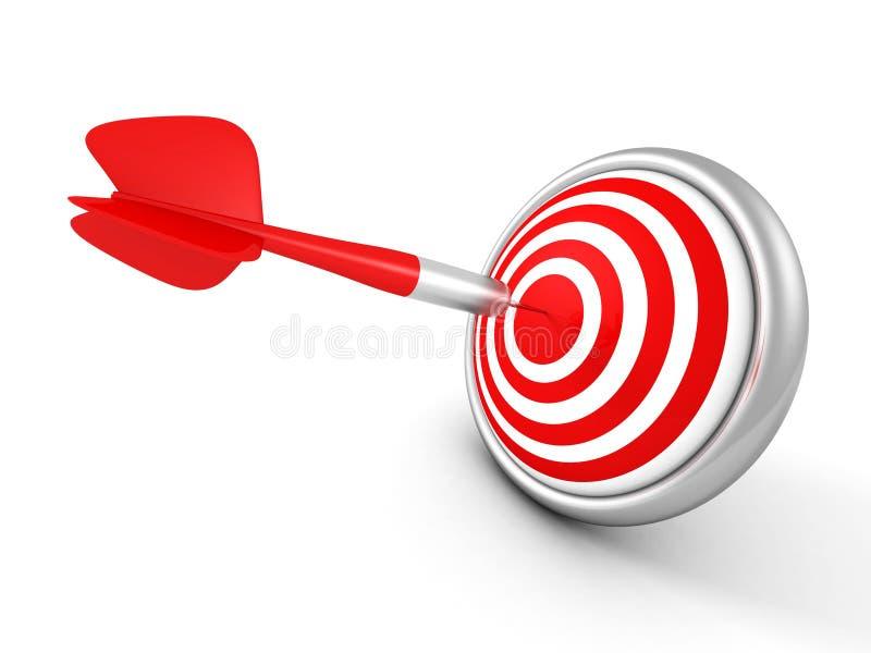 Flèche rouge de dard au centre de cible concept de succes illustration libre de droits