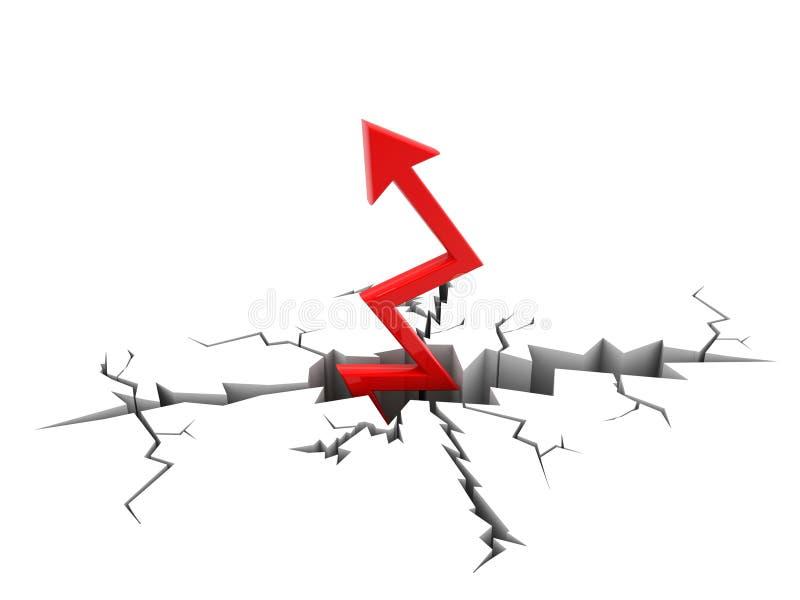 Flèche rouge traversant la terre, concept de succès 3d rendent illustration libre de droits