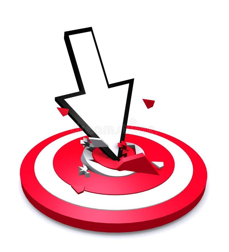Flèche se brisant dans l'oeil de taureaux rouge de cible illustration libre de droits
