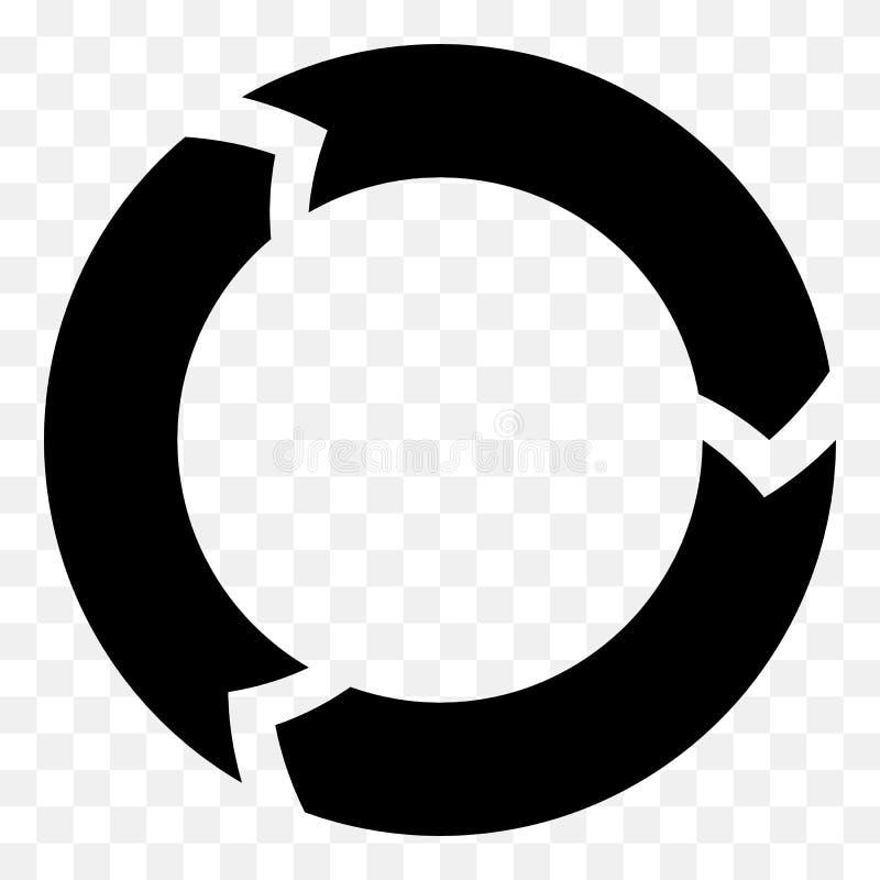 Flèche segmentée de cercle Icône circulaire de flèche Processus, progres, r illustration stock