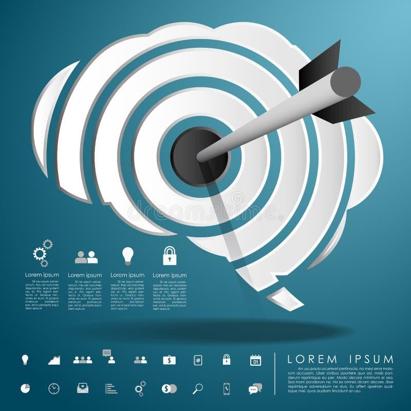 Flèche sur le cerveau de cible avec l'icône d'affaires illustration libre de droits