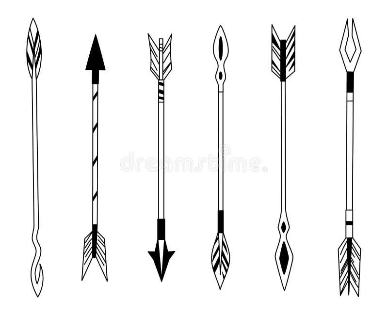 Flèche tirée par la main de plume, plumes tribales sur l'indicateur et arc décoratif de boho, pointe de flèche indienne de plume  illustration stock